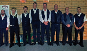 (L-R) Lee Morcom, Josh Rainbow, Heath Rainbow, Paul Zoon, Rolf Stevenson, Adrian White, Andrew Saltmarsh, Keith Coomber